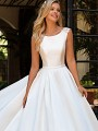 Moonlight Collection J6701 elegant mikado ball gown bridal gown with pockets