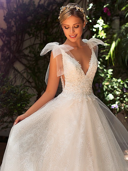 Moonlight Collection J6703 elegant unique lace wedding dress with bows at the neckline