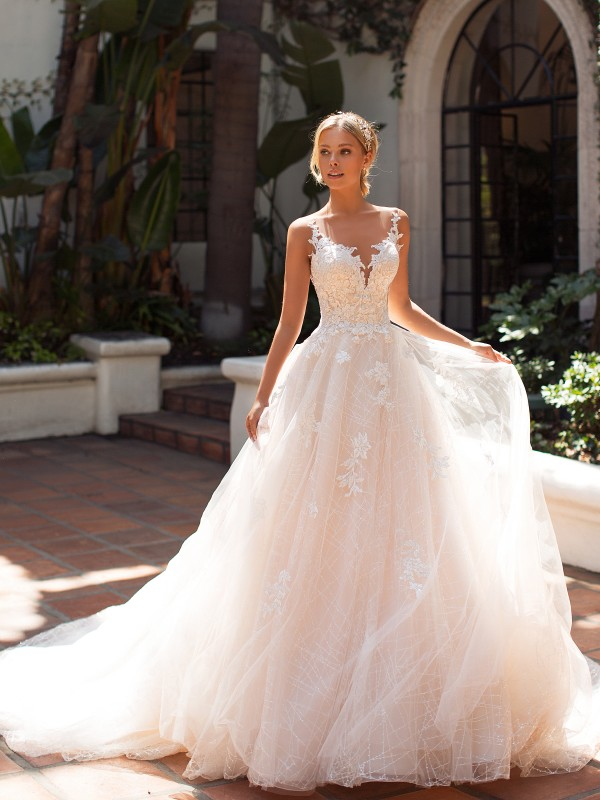 Moonlight Collection J6704 illusion bateau neckline ball gown with unique sequin lace