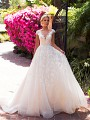 Moonlight Collection J6705 iluusion bateau neckline wedding dress with cap sleeves