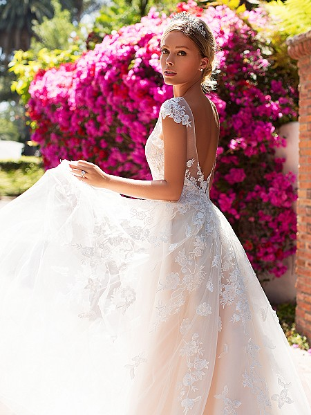 Moonlight Collection J6705 low illusion v-back wedding dress with cap sleeves