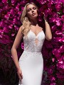 Moonlight Collection J6706 strapless sweetheart crepe bridal gown with lace bodice