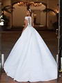 Moonlight Collection J6707 illusion back satin ball gown wedding dress with buttons along the back