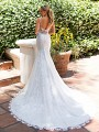 Moonlight Collection J6708 low illusion back lace wedding dress with straps