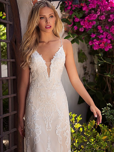 Moonlight Collection J6709 low illusion sweetheart neckline wedding dress