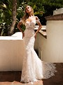 Moonlight Collection J6710 cold shoulder lace wedding dress with straps