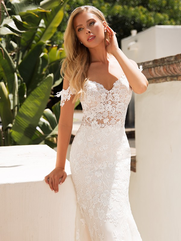 Moonlight Collection J6710 cold shoulder all lace mermaid wedding dress