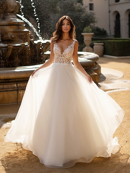 Moonlight Collection J6741 beautiful unlined deep V-neck ball gown with horsehair trim hem