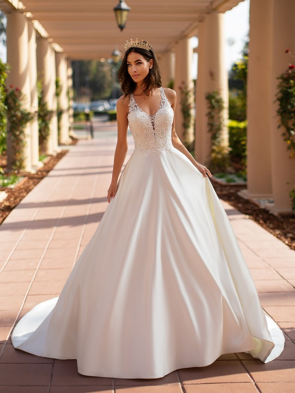 Moonlight Collection J6742 elegant deep V-neck with lace appliques over satin A-line bridal gown