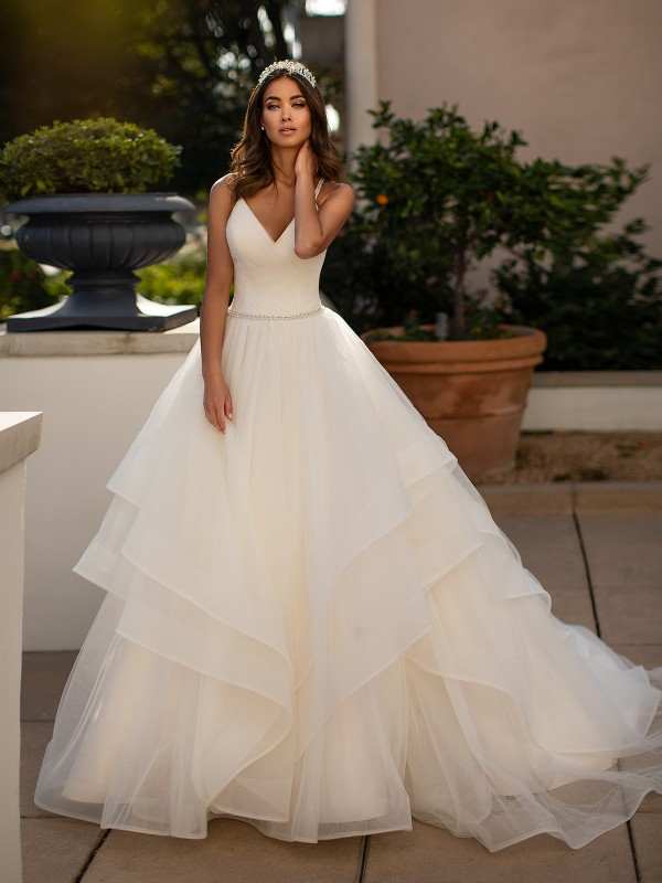 Moonlight Collection J6743 sweetheart neckline and flowing tulle A-line bridal gown with cascades