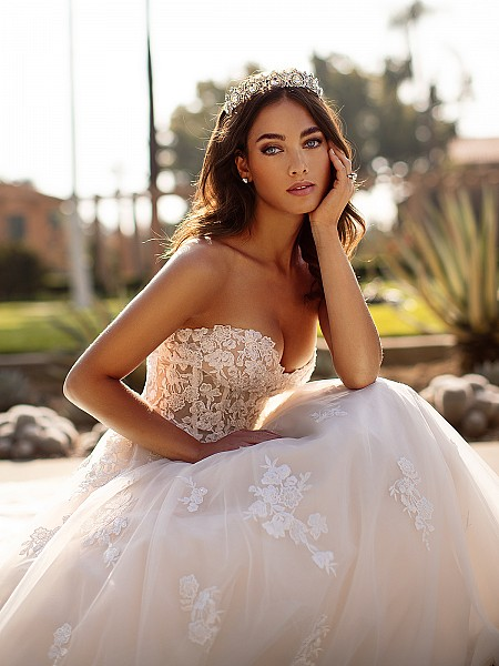 Moonlight Collection J6744 sexy strapless sweetheart full A-line bridal gown with unlined bodice and lace appliques