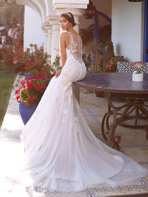 Moonlight Collection J6745 stunning mermaid silhouette with bateau illusion back and buttons along illusion and zipper