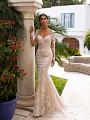 Moonlight Collection J6746 deep V-neck mermaid gown with lace appliques and long sleeves