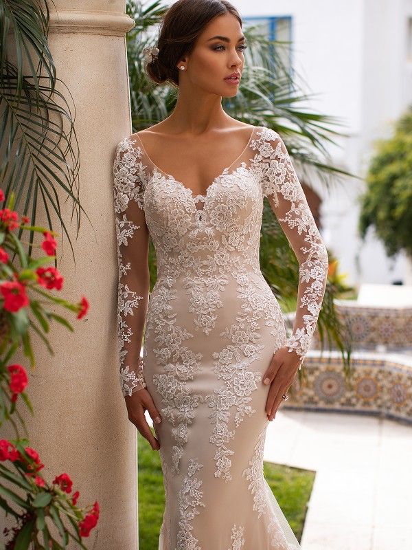 Moonlight Collection J6746 beautiful lace applique over net bridal gown with alluring illusion long sleeves