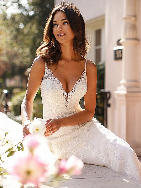 Moonlight Collection J6748 beautiful deep V-neck with illusion inset and beaded straps lace fit and flare bridal gown