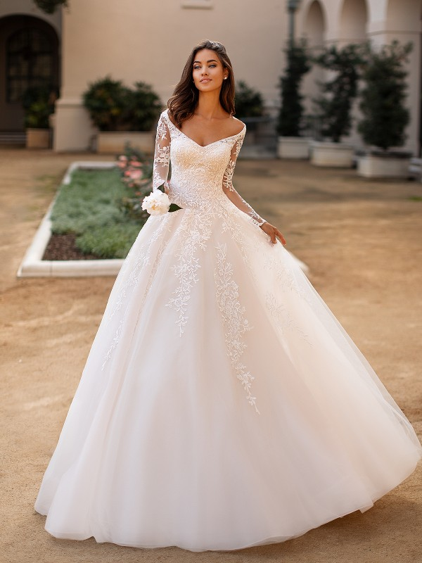 Moonlight Collection J6749 majestic V-neck beaded tulle full A-line bridal gown with illusion long sleeves