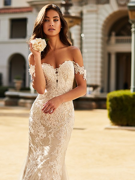 Moonlight Collection J6750 breathtaking sweetheart neckline Chantilly lace mermaid bridal gown with swag sleeves