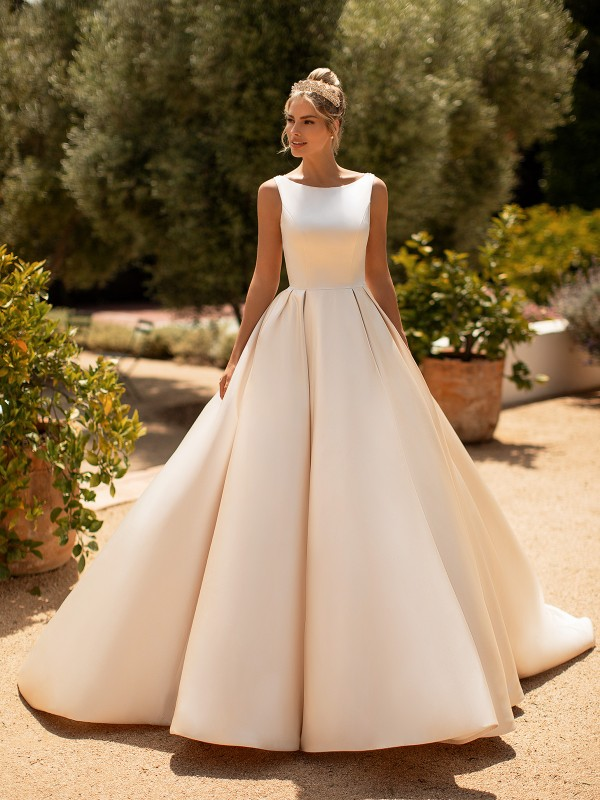 Moonlight Collection J6772 classic satin bridal ball gown with bateau neckline and full skirt