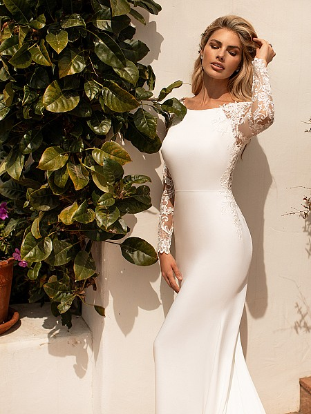 Moonlight Collection J6774 sleek kace long sleeve crepe wedding dress with bateau neckline
