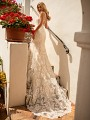 Moonlight Collection J6775 form-fitting mermaid wedding dress with glamorous sparkles and detailed illusion chapel train