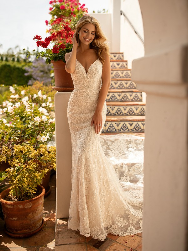Moonlight Collection J6775 flirty mermaid bridal dress with lace appliques & shimmer organza
