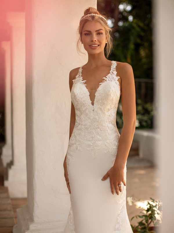 Moonlight Collection J6776 lace v-neck wedding dress with illusion inset