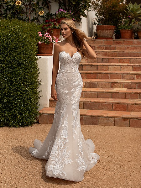 Moonlight Collection J6777 form fitting strapless mermaid wedding dress