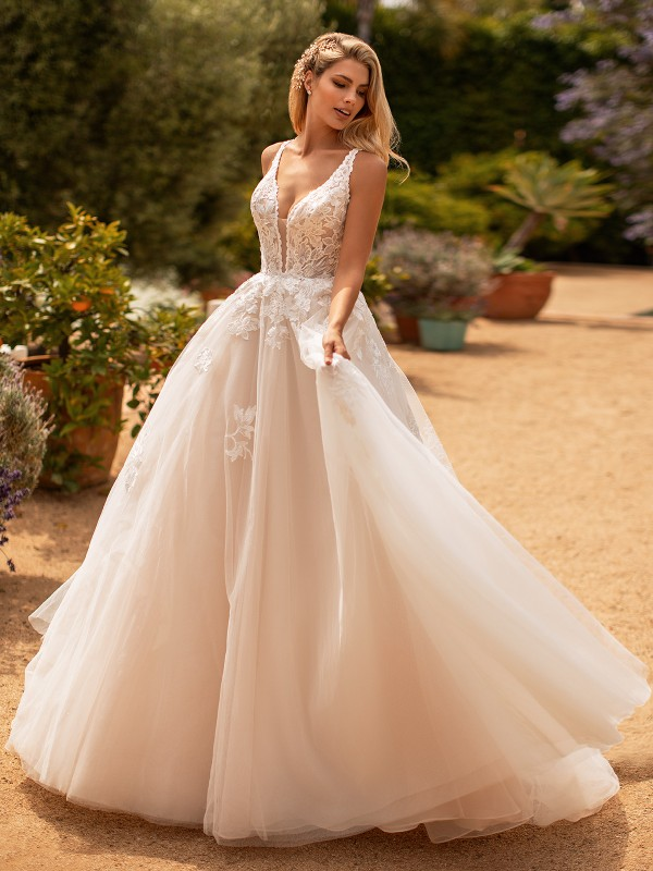 Moonlight Collection J6778 feminine sparkly tulle and lace wedding ball gown