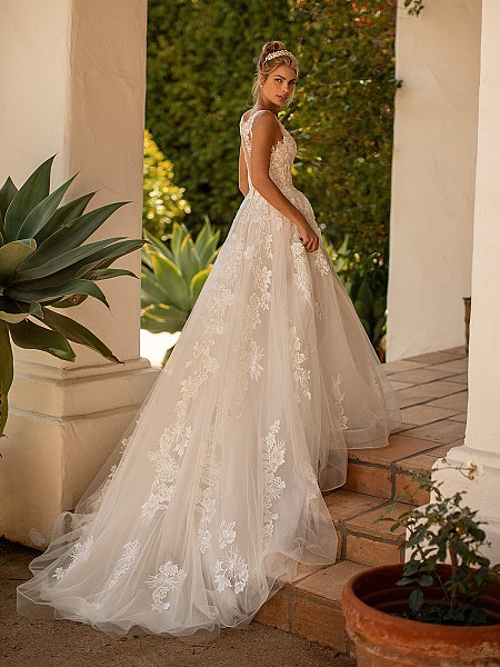 Moonlight Collection J6779 shimmering tulle wedding dress with beautiful chapel train