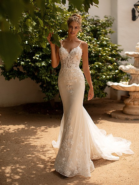 Moonlight Collection J6780 form fitting sparkle net mermaid wedding dress