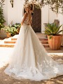 Moonlight Collection J6781 low key hole back wedding dress with chapel train