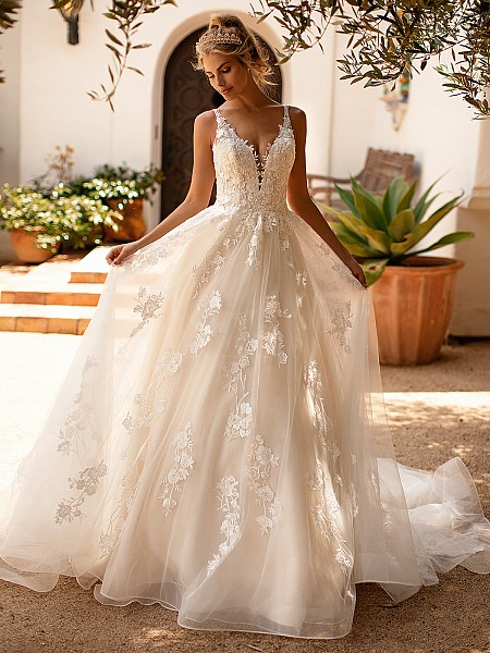 Moonlight Collection J6781 charming lace and tulle a-line wedding dress