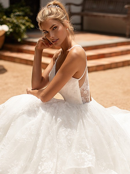 Moonlight Collection J6782 sparkle floral tulle sweetheart neckline wedding gown with keyhole back