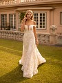 Fit and Flare Garden Floral Lace Wedding Dress Moonlight Collection J6793
