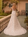 Floral Lace Fit and Flare Wedding Dress With Illusion Back Moonlight Collection J6793