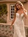 Floral Off-The-Shoulder Sleeve Fit  and Flare Wedding Dress Moonlight Collection J6793