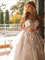 Sweetheart With Plunge Wedding Dress With Garden Lace and Sequins Moonlight Collection J6797