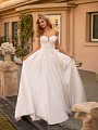 Satin Ball Gown Wedding Dress With Organic Lace Bodice and Pockets Moonlight Collection J6799