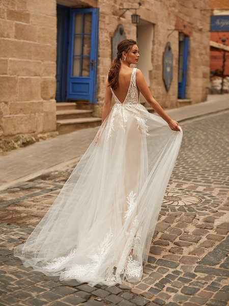 Moonlight Collection J6811 sexy beaded trim deep V-back boho-inspired tulle A-line bridal gown