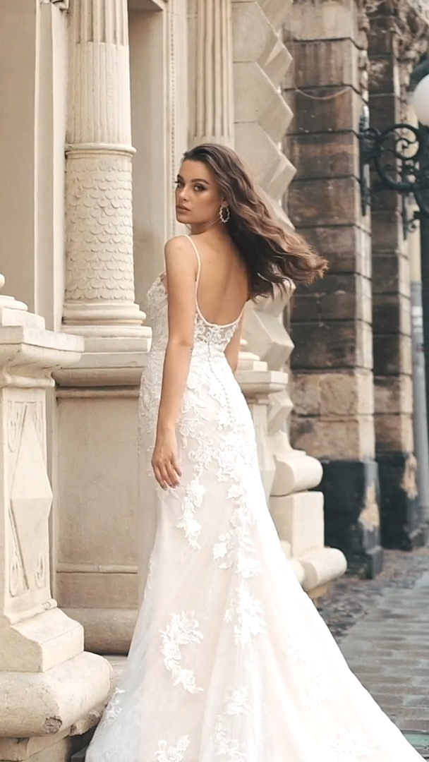 Moonlight Collection J6812 all lace trumpet bridal gown with beaded straps and plunging neckline and low illusion back