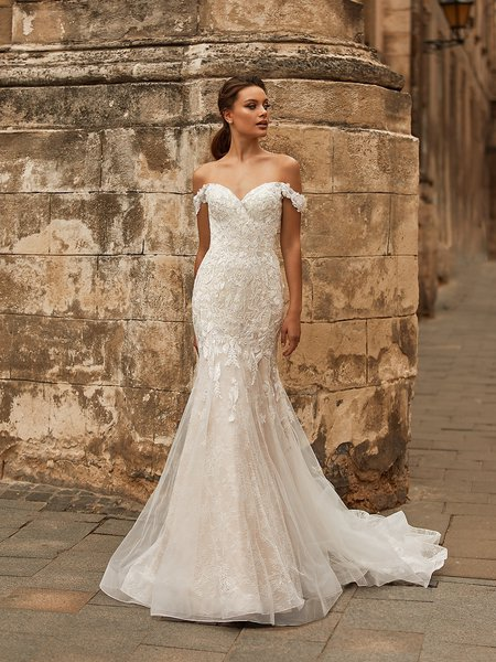 Moonlight Collection J6813 off-the-shoulder all over lace mermaid with beaded lace appliques and lace swag sleeves