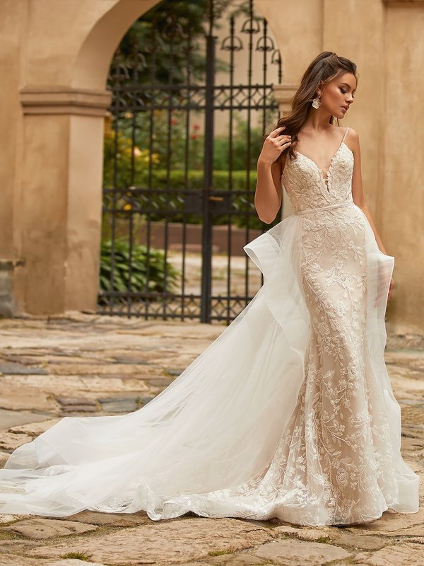 Moonlight Collection J6820 ivory beaded floral embroidered net and sparkle net over latte lining mermaid with beaded straps