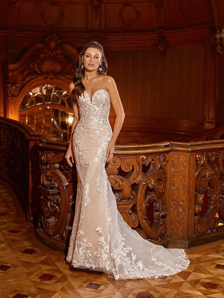 Moonlight Collection J6822 Shimmer Strapless Sweetheart Mermaid Wedding Dress With Scattered Embroidered Leaf Lace Appliques