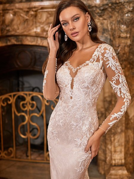 Moonlight Collection J6828 Fitted Graphic Mixed Lace Illusion V-Neck Wedding Dress With Long Sheer Lace Sleeves