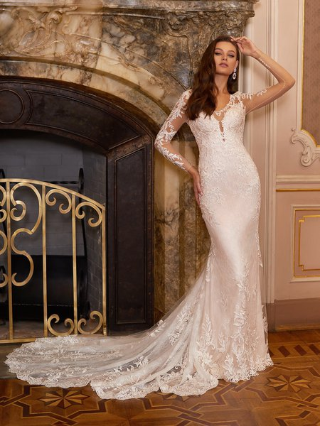 Moonlight Collection J6828 affordable wedding dresses with low backs and beading