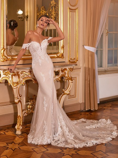 Moonlight Collection J6830 affordable wedding dresses with low backs and beading