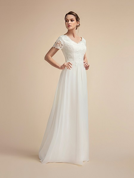 Lined Short Sleeve Modest A-line Wedding Dress with Wide V-neck Moonlight M2021