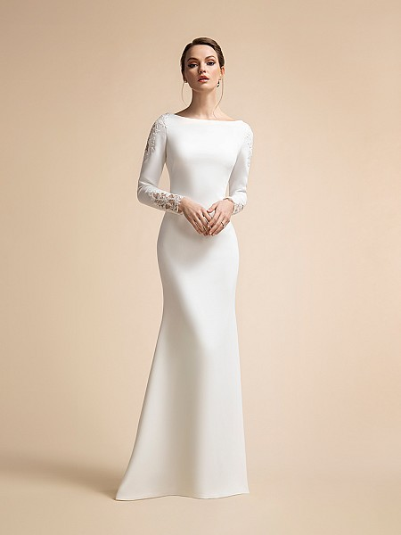 Modest Temple Ready Satin Mermaid Wedding Dress with Long Sleeves Moonlight M2022
