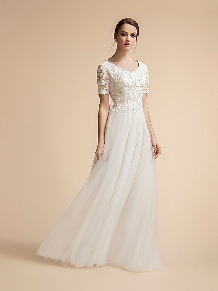 T-shirt Sleeve Lace Modest Wedding Dress with Dreamy Tulle Skirt Moonlight M2023