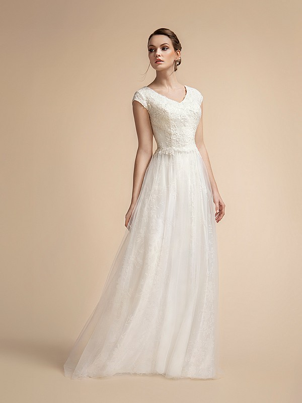 Sparkly Modest Temple Ready A-line Wedding Dress with Wide V-neck and Cap Sleeves Moonlight M2024